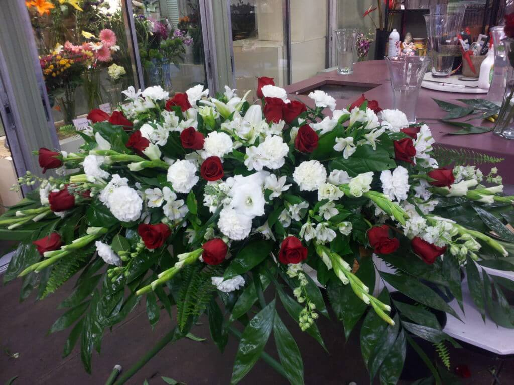 White With Red Roses Casket